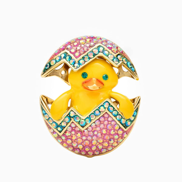 Crystal Hatching Chick Brooch