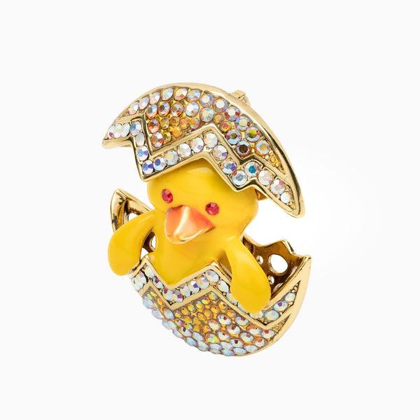 Crystal Hatching Chick Egg Brooch