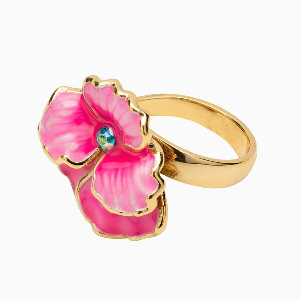 Pansy Flower Crystal Ring