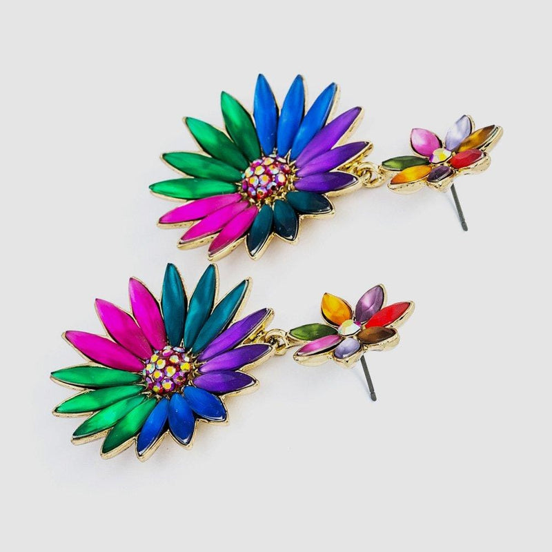 Candy Coloured Flower Drop Earrings