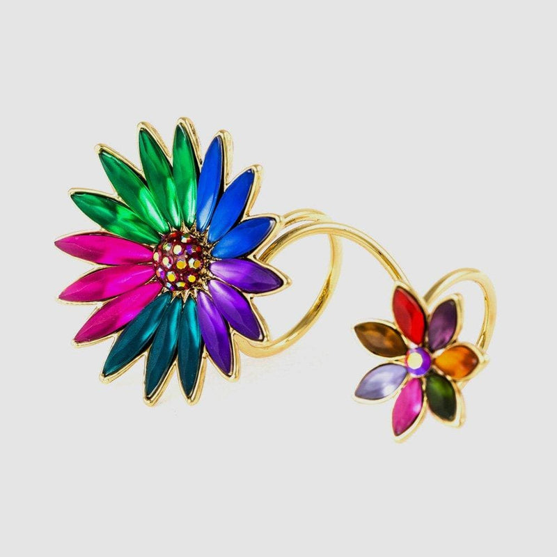 Candy Colours 2 Flower Adjustable Wrap Ring