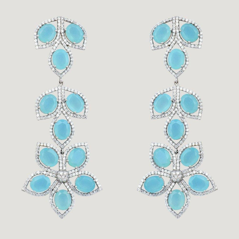 Chalcedony & C. Zirconia Trailing Leaf Silver Drop Earrings