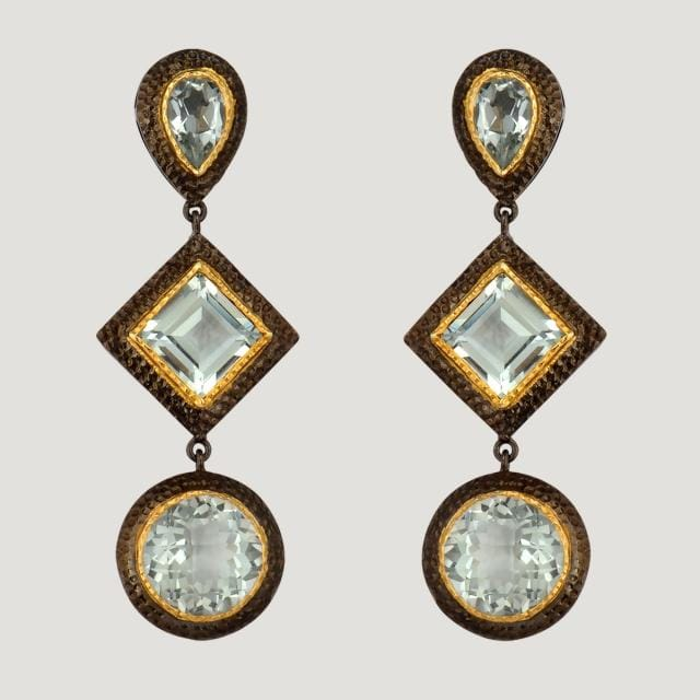 Circle & Square Vermeil Drop Earrings