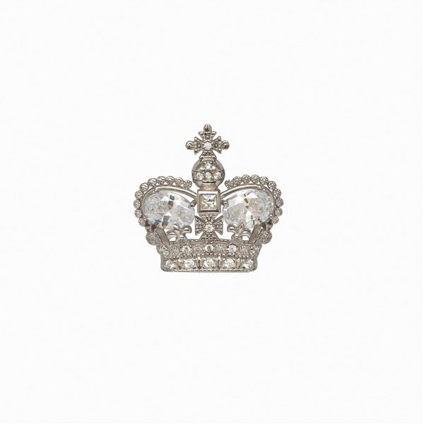 Sterling Silver CZ Crown Clutch Pin Brooch