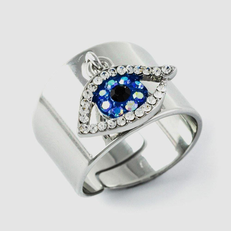Crystal Dangling Eye Adjustable Ring