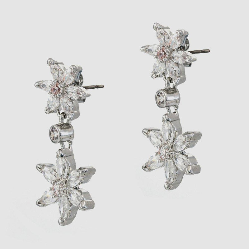 Crystal Double Daisy Drop Earrings