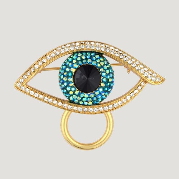 Crystal Eye Shape Glasses Holder Brooch