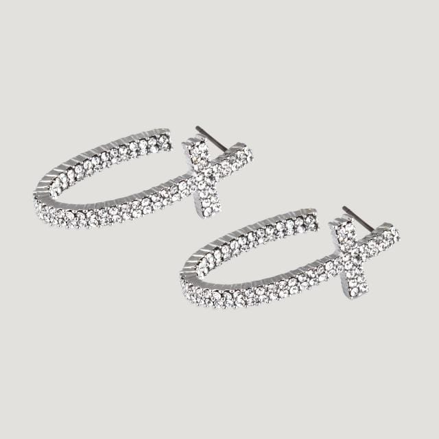 Crystal Half Hoop Cross Earrings