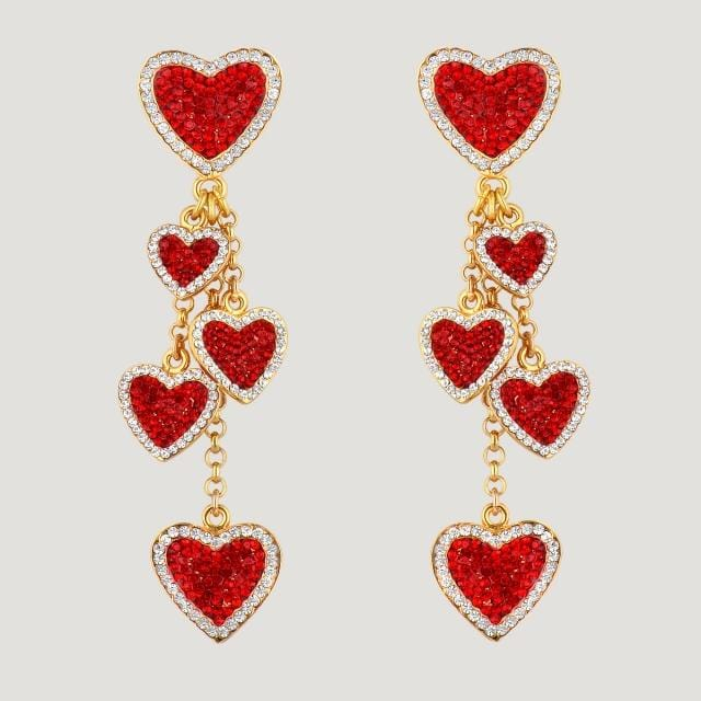 Crystal Hearts Drop Earrings