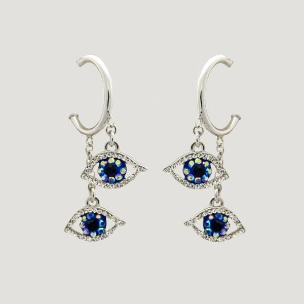 Crystal Hoop Two Drop Eyes Earrings