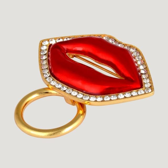 Crystal Lip Shape Glasses Holder Brooch