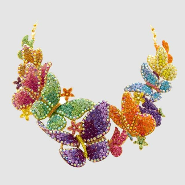 Crystal Multi Butterflies & Flowers Necklace
