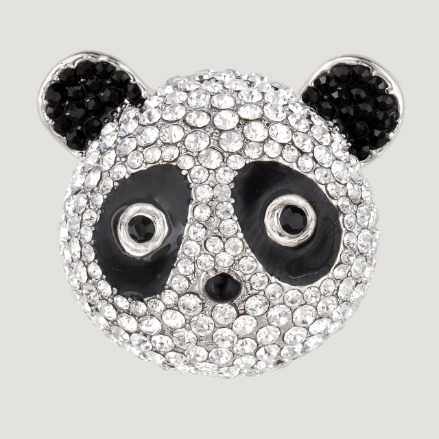 Crystal Panda Head Brooch