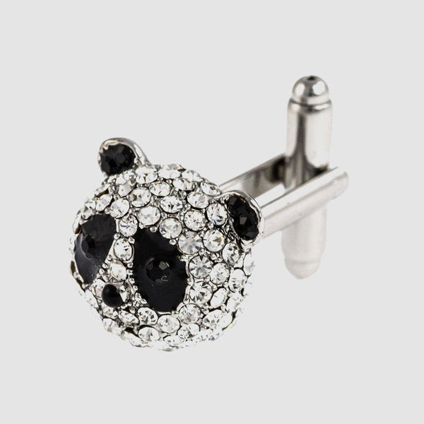 Crystal Panda Head Cufflinks