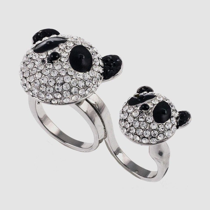 Crystal Panda Heads Adjustable Double Ring