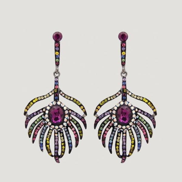 Crystal Peacock Feather Drop Earrings