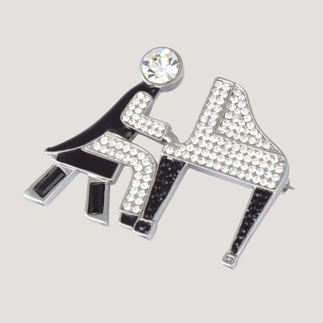 Crystal Piano Player Brooch