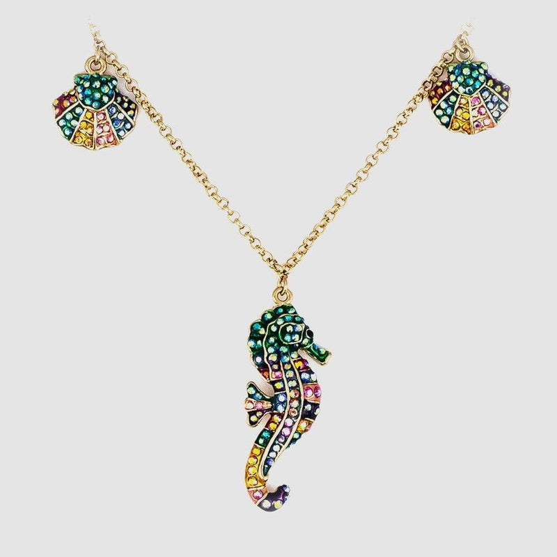 Crystal Seahorse Charm Necklace