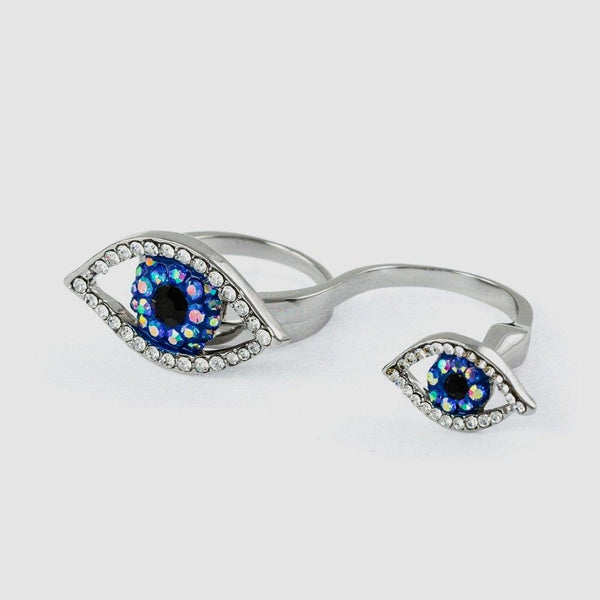 Crystal Two Eyes Adjustable Double Finger Ring