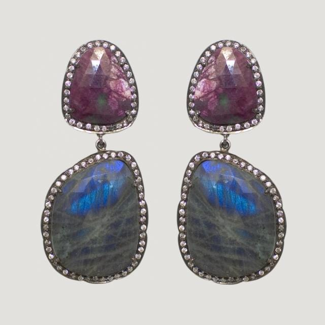 Natural Multicolour Sapphire Silver Drop Earrings