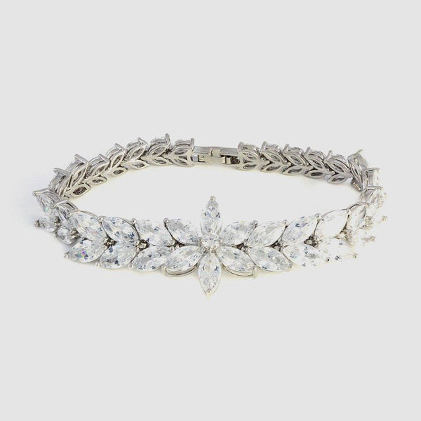 Cubic Zirconia Daisy And Leaves Bracelet