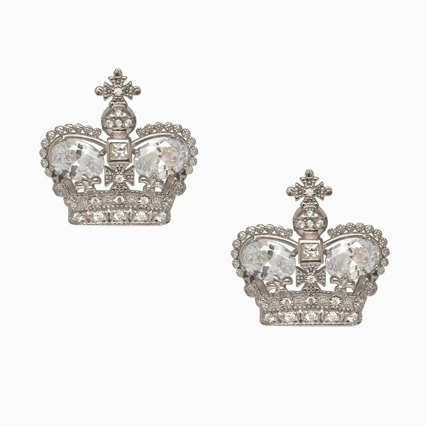 Sterling Silver CZ Crown Cufflinks
