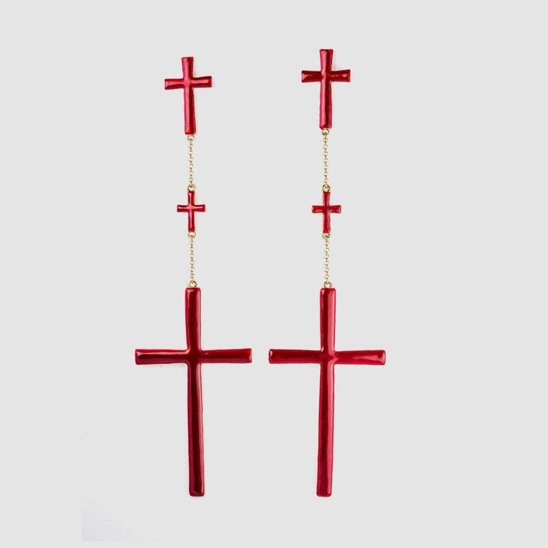 Extra Long Three Graduating Crosses Drop Earrings