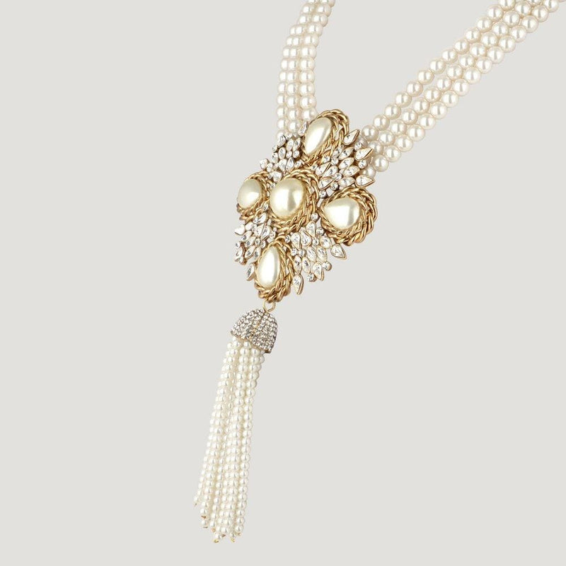 Faux Pearl & Crystal French Look Tassel Necklace