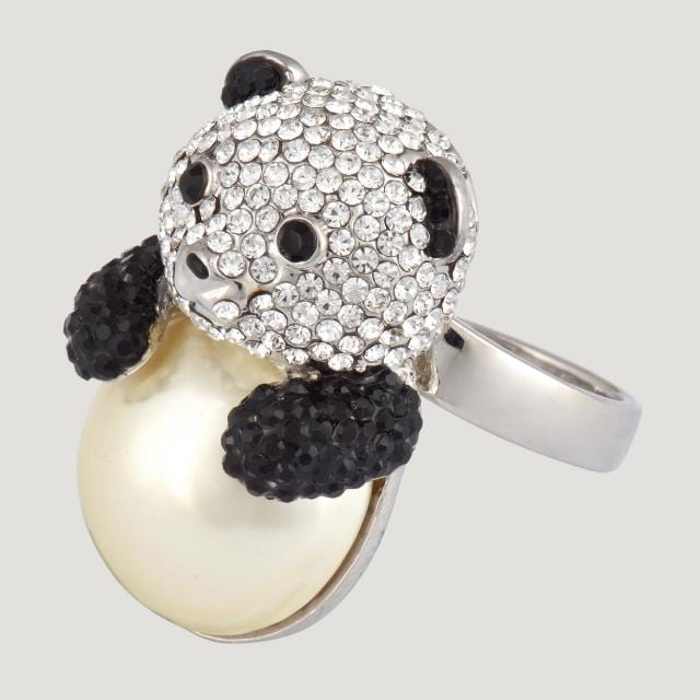 Faux Pearl Belly Panda Adjustable Ring