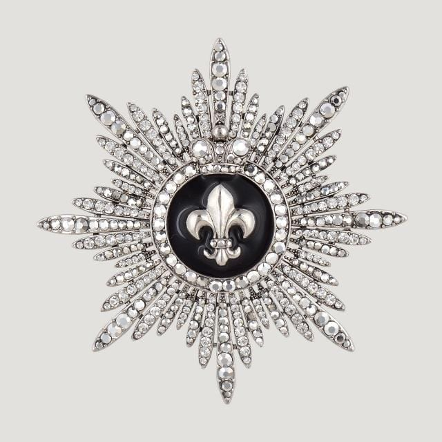 Fleur De Lis Center With Crystal Edges Medal Brooch