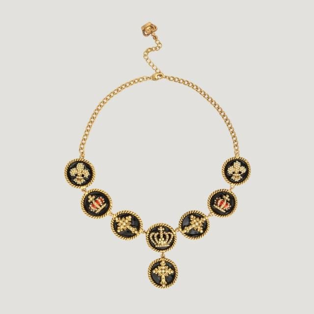 Fleur De Lis, Crown & Cross Discs Necklace