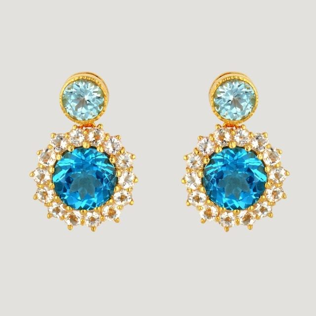 Flower Drop Vermeil Earrings Topaz