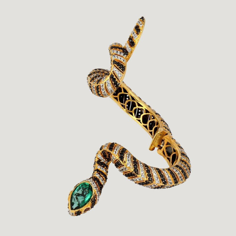 Green Quartz 12.9 carat, White Topaz, Onyx 40.27 carat Snake Bangle