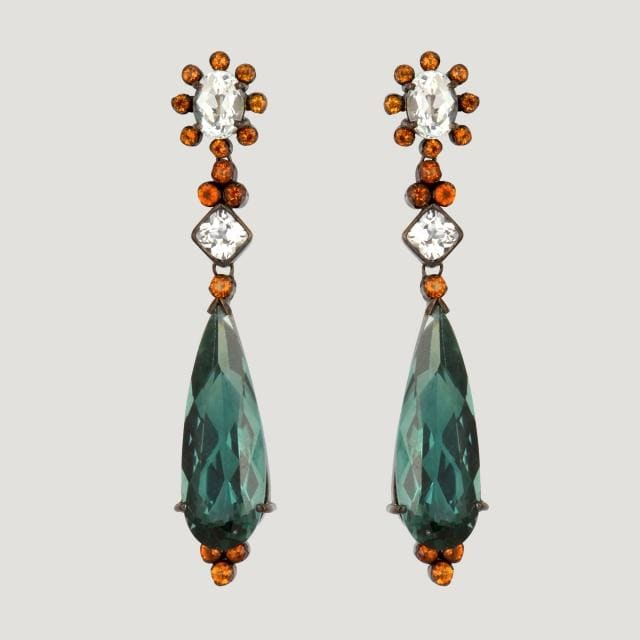 Green Quartz Drop (24.11 K) Vermeil Earrings With White Topaz (4.9 K) and Citrine (1.4 K)