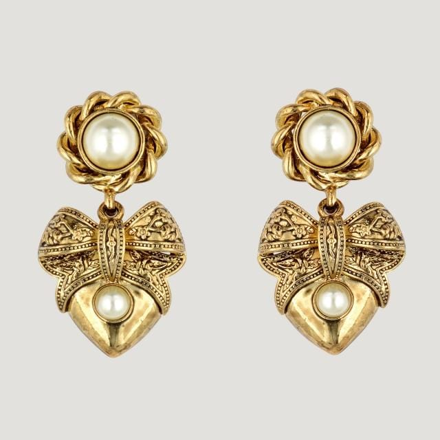 Heart & Bow Drop With Faux Pearl/ Crystal Top Earrings