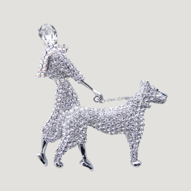 Large Crystal Lady and Dog Brooch