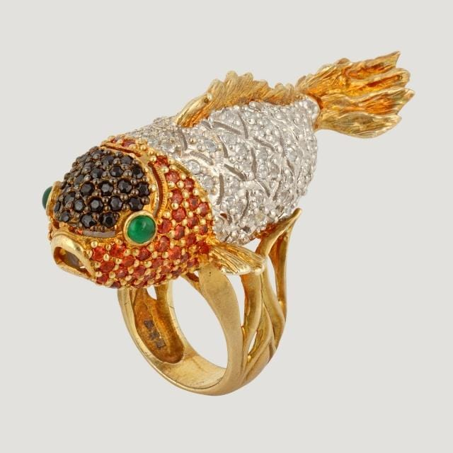Large Gold Plated Fish Ring with White Topaz