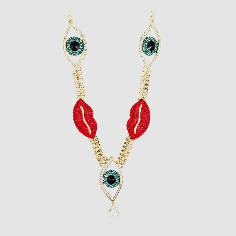 Multi Crystal Eye & Lips on Chunky Chain Necklace