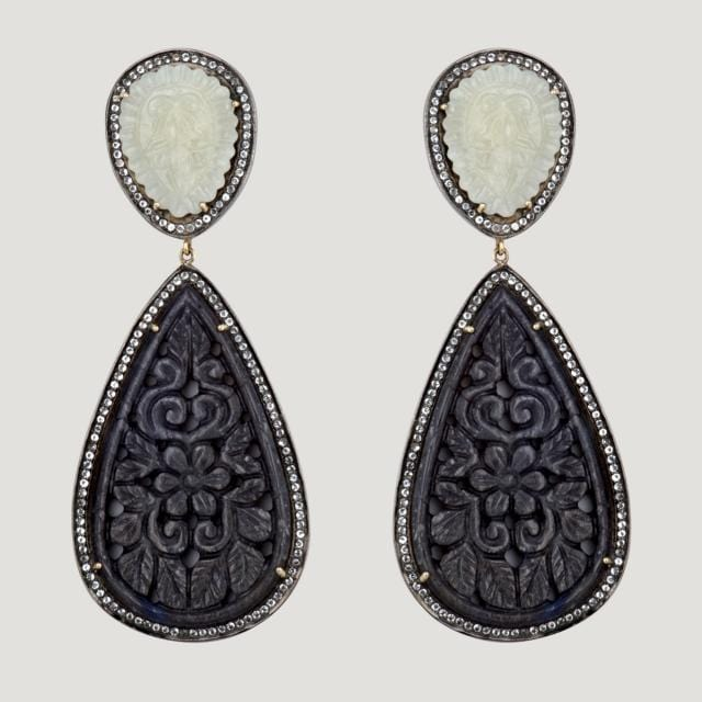 Natural Sapphires & C. Zirconia Silver Teardrop Earrings