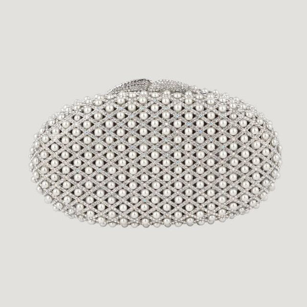 Oval Multi Pearl Clutch Bag
