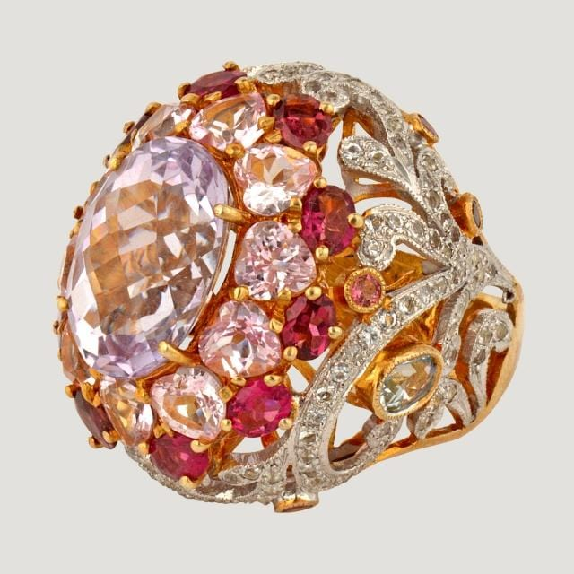 Oval Pink Amethyst (8.2 K) With Pink Tourmaline, White Topaz And Amethyst (8.9 K) Silver Ring