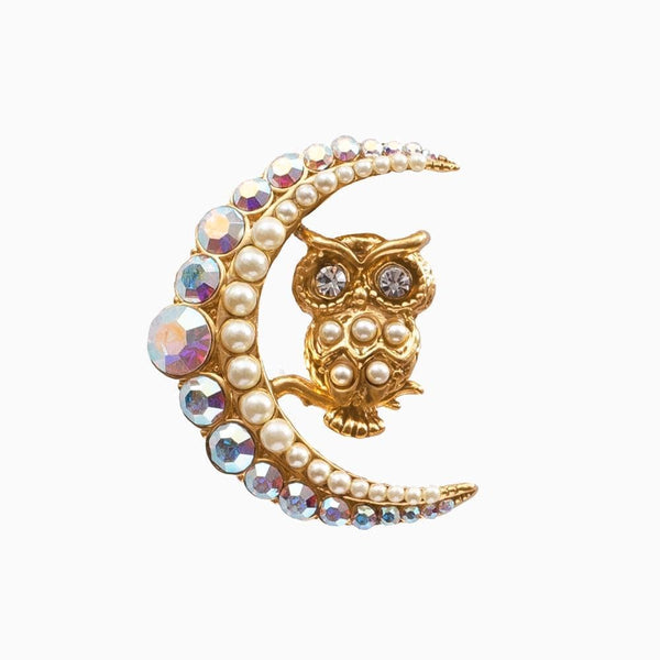 Crystal Owl & Crescent Moon Brooch