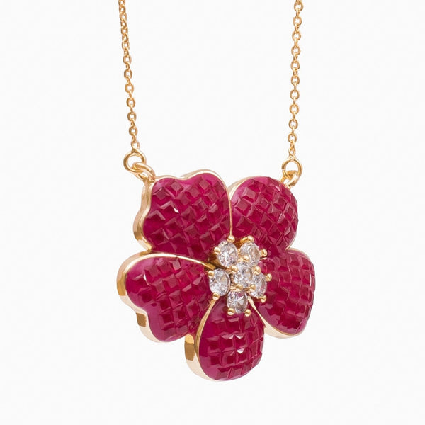 Crystal Flower Pendant Necklace
