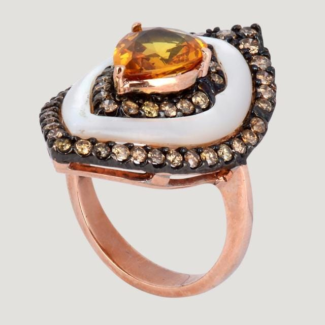 Pink Gold and Yellow Sapphire Ring