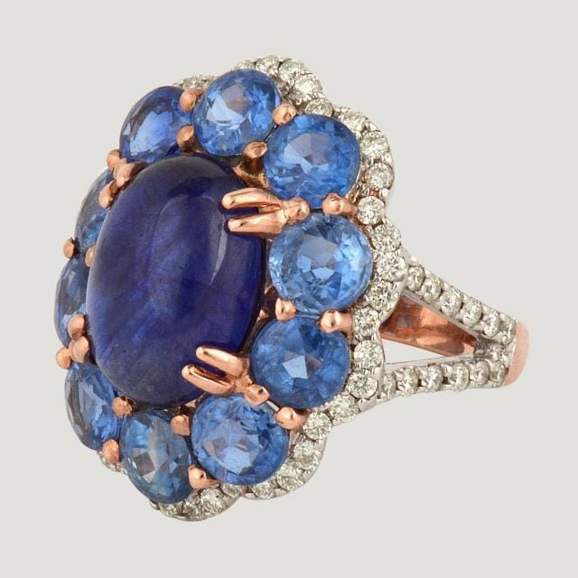 Pink Gold Blue Sapphire Ring