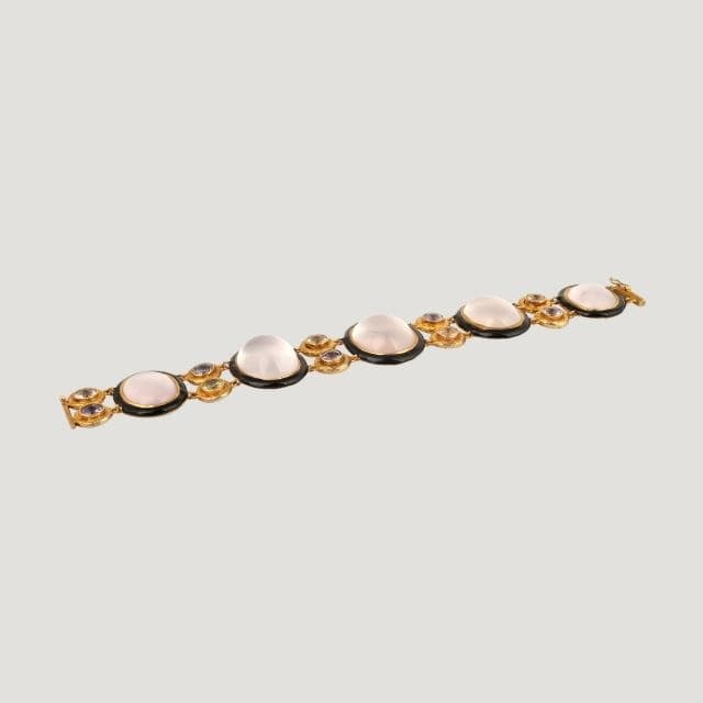 Rose Quartz Ovals (123 K) With Lemon Quartz & Amethyst (7.8 K) on Black Enamel Silver Bracelet