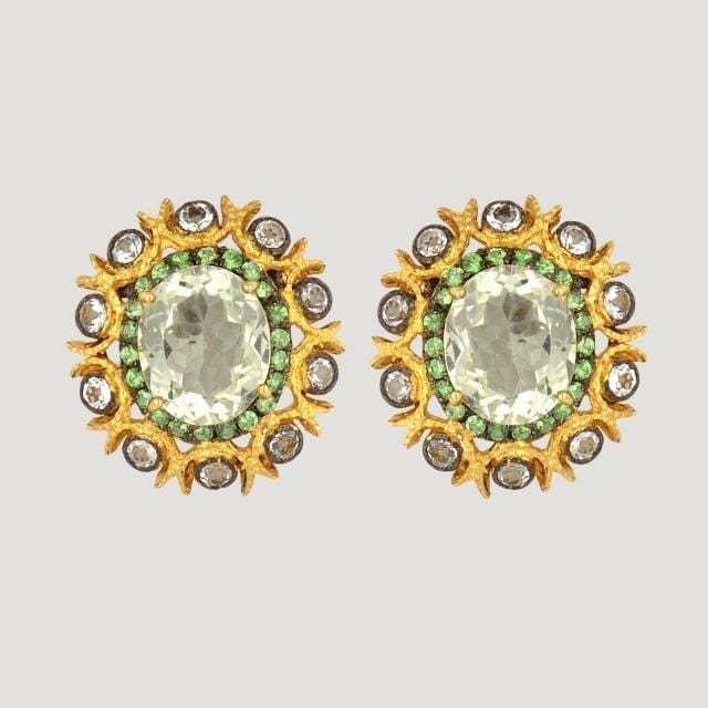 Round Vermeil Stud Earrings With Green Amethyst (9.42 K), White Topaz (1.7 K) and Green Garnet (0.9 K)