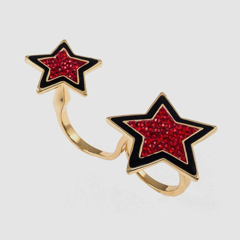 Sale:Crystal and Enamel Stars Adjustable Double Ring