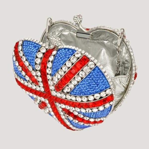 Sale:Swarovski Crystals Heart Shape Union Jack Clutch Bag