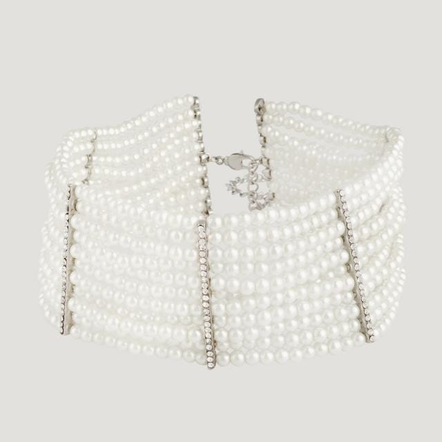 Simulated Pearls Thick Choker with extension chain 8.0cm